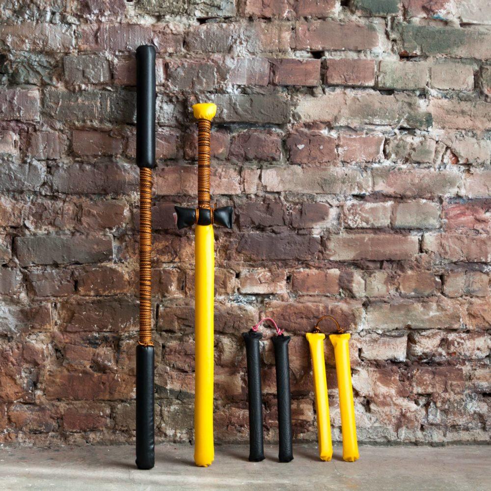 Набор Япония (Шест Бо (100 см), Катана (85см), Нунчаки 2 шт (30 см) Чёрно-Жёлтый-
